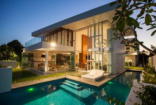 Contemporary Swimming Pool with Pathway, Fence, French doors, exterior tile floors