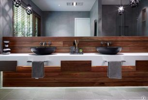 Contemporary Master Bathroom with Corian solid surface in designer white, Vessel sink, Double sink, Pendant light
