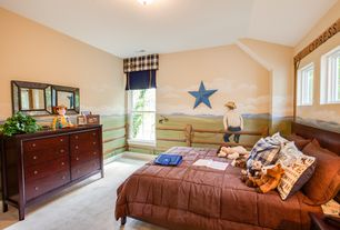Country Kids Bedroom with Mural, Standard height, double-hung window, Casement, no bedroom feature, flush light, Carpet