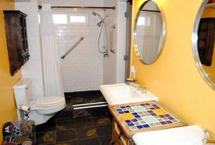 Country 3/4 Bathroom with curtain showerdoor, stone tile floors, three quarter bath, picture window, Handheld showerhead