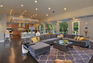 Contemporary Great Room with French doors, Pendant light, Hardwood floors, Smash Tray Table, Modway Gridiron Coffee Table
