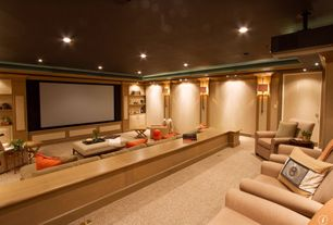 Traditional Home Theater with Built-in bookshelf, Wall washer, Wall washers, Wall sconce, Carpet