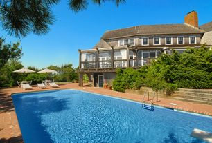 Traditional Swimming Pool with Raised beds, French doors, exterior brick floors, Lap pool
