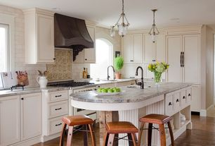 Traditional Kitchen with Specialty Tile, Flat panel cabinets, L-shaped, Pendant light, Granite laminate countertop