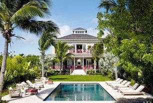 Tropical Swimming Pool with Jungle, Pathway, French doors, Alessandra branca, British colonial, Bahamas
