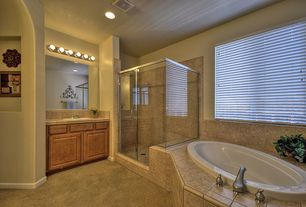 Traditional Master Bathroom with Stone Tile, Limestone tile counters, Hunter douglas parkland reflections horizontal blinds