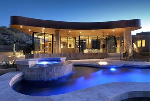Contemporary Swimming Pool with Fire pit, Covered patio, Fence, exterior tile floors, Pool with hot tub, French doors