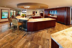 "Contemporary Kitchen with Undermount sink, Viking FDSB5482 48"" Built-in Side by Side Refrigerator, Skylight, Onyx counters"