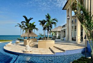 Tropical Patio with Pathway, Infinity pool, Deck Railing, exterior stone floors