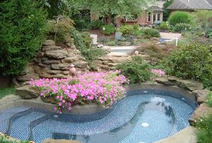 Traditional Swimming Pool with Pathway, Raised beds, Bay window, Other Pool Type, French doors, exterior stone floors