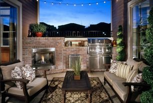 Traditional Patio with Outdoor kitchen, sliding glass door, Deck Railing, exterior tile floors, exterior concrete tile floors
