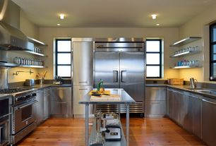 Contemporary Kitchen with Multiple Sinks, Standard height, dishwasher, Casement, Travertine counters, flush light, can lights