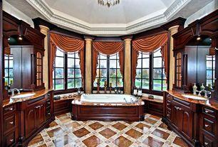 Traditional Master Bathroom with drop in bathtub, Undermount sink, Vinyl floors, Paint 1, Casement, Paint 2, Crown molding