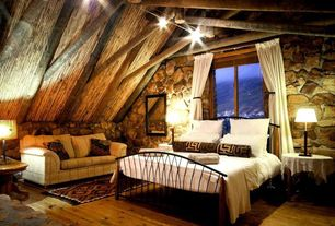 Eclectic Master Bedroom with Exposed beam, Hardwood floors, High ceiling