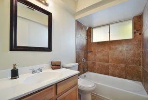 Traditional Full Bathroom with Shower, Standard height, no showerdoor, Casement, Inset cabinets, Undermount sink, Full Bath