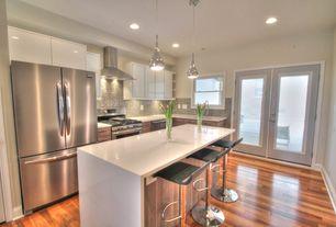 Contemporary Kitchen with European Cabinets, Pangea Home Jax Adjustable Height Bar Stool, Breakfast bar, Undermount sink