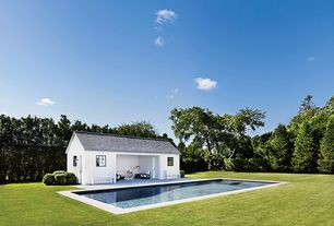 Cottage Swimming Pool with Casement, Fence, Screened porch, exterior tile floors, six panel door, Lap pool, Pathway