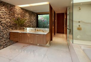 Contemporary Master Bathroom with flush light, Kohler Walnut Wall Mount Bathroom Vanity, Corian counters, Master bathroom