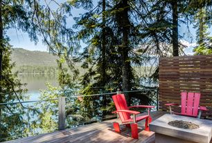 Contemporary Deck with Real flame mezzo table, Loll designs adirondack chair, Fire pit, Deck Railing