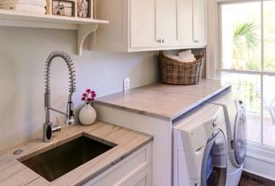 Cottage Laundry Room with Undermount sink, Built-in bookshelf, Kitchen graft, eldorado cabinet door style, Hardwood floors