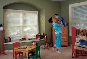 Traditional Kids Bedroom with Carpet, Window seat