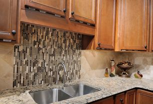 Modern Kitchen with Granite counters, Glass tile backsplash, Stone tile backsplash, Undermount sink