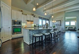 Contemporary Kitchen with Paint 2, electric cooktop, Complex granite counters, Threshold saddle counter stool with nailheads