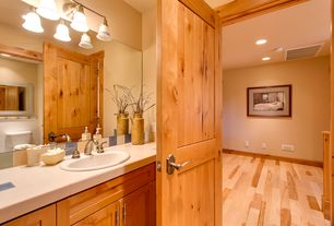 Rustic Powder Room with Standard height, Wall sconce, specialty door, Hardwood floors, Built-in bookshelf, Paint