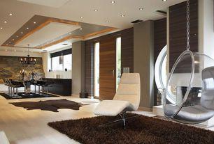 Modern Great Room with interior wallpaper, specialty door, Laminate floors, Chandelier