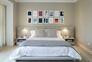 Contemporary Master Bedroom with Crown molding, Cb2 shake nightstand, Laminate floors, Hokku designs chico platform bed