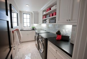 Traditional Laundry Room with laundry sink, Casement, can lights, simple marble floors, Built-in bookshelf, Standard height