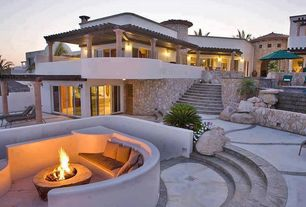 Contemporary Patio with Outdoor seating area, picture window, Fire pit, Trellis, exterior stone floors, sliding glass door