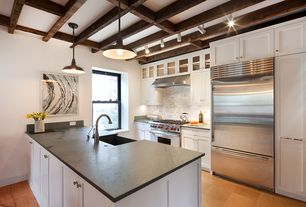 Eclectic Kitchen with MS International Arabescato Carrara Marble 2, MS International Black Soapstone, Soapstone counters