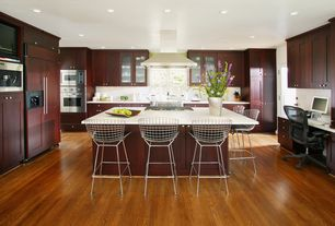 Contemporary Kitchen with Kitchen island, French doors, Bertoia Bar Stool, Breakfast bar, U-shaped, Simple Marble