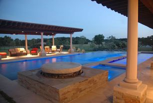 Contemporary Swimming Pool with Fence, Fire pit, exterior stone floors, Pathway, Gazebo, Fountain