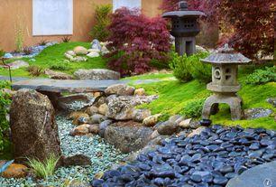 Asian Landscape/Yard with Pathway, Hexagon japanese garden lantern, Kuro black high polished pebbles