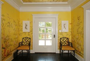 Eclectic Entryway with Hardwood floors, Jonathan Adler - Chippendale Arm Chair, Glass panel door, Crown molding