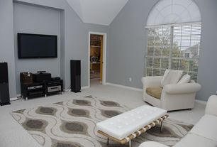 Traditional Living Room with High ceiling, Barcelona bench, Ikea Besta TV Unit, Arched window, simple granite floors