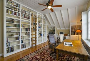 Traditional Home Office with Exposed beam, Hardwood floors, Built-in bookshelf, Ceiling fan
