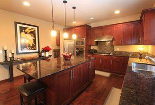 "Modern Kitchen with full backsplash, Wall Hood, wall oven, American Heritage Empire 30"" Bar Stool, Flush, Multiple Sinks"