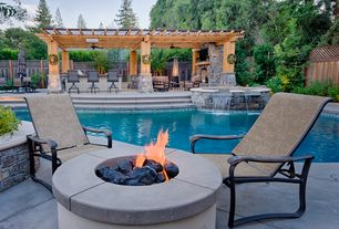 Craftsman Patio with Fire pit, Pathway, exterior stone floors, Trellis, Fountain, Fence