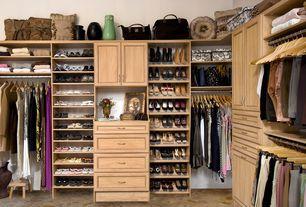 Craftsman Closet with ClosetMaid Impressions 5 - 10 ft. Walnut Premium Closet System (8-Pieces), Built-in bookshelf, Carpet