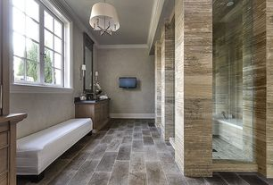 Contemporary Master Bathroom with Flush, Crown molding, Flat panel cabinets, Pendant light, Master bathroom, Slate counters
