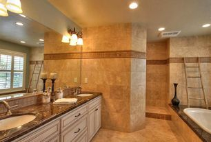 Traditional Master Bathroom with Complex granite counters, Limestone Tile, Double sink, Stone Tile, Master bathroom, Flush