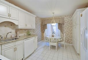 Cottage Kitchen with Pendant light, Limestone Tile, Stone Tile, Undermount sink, Flush, U-shaped, Complex granite counters