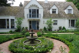Traditional Landscape/Yard with Deck Railing, Pathway, Casement, six panel door, exterior brick floors
