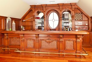 Traditional Bar with specialty window, Built-in bookshelf, Standard height, can lights, Hardwood floors