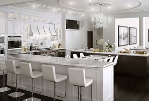 Contemporary Kitchen with One-wall, full backsplash, Gallery lighting snow white chandelier, Breakfast bar, Inset cabinets