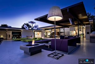 Modern Deck with Fire pit, exterior tile floors, Outdoor kitchen