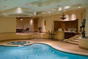 Contemporary Swimming Pool with Pool with hot tub, exterior stone floors, Pathway, Indoor pool
